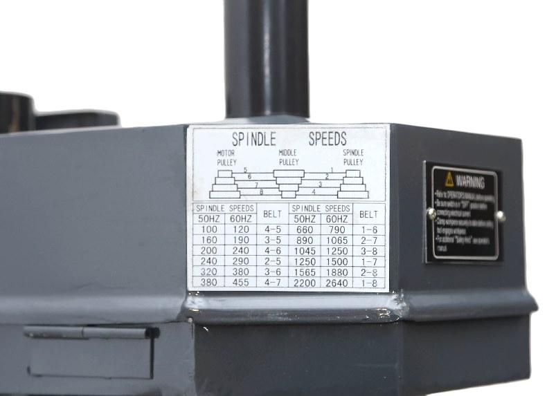 Таблица соответствия скоростей положению ремней расположена на станине фрезерного станка.